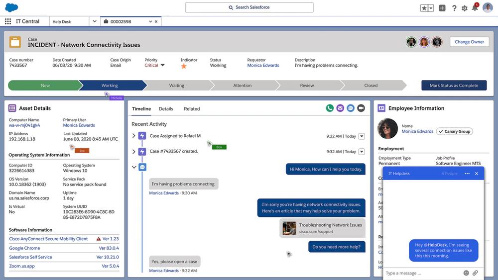 IT service desk view in Salesforce