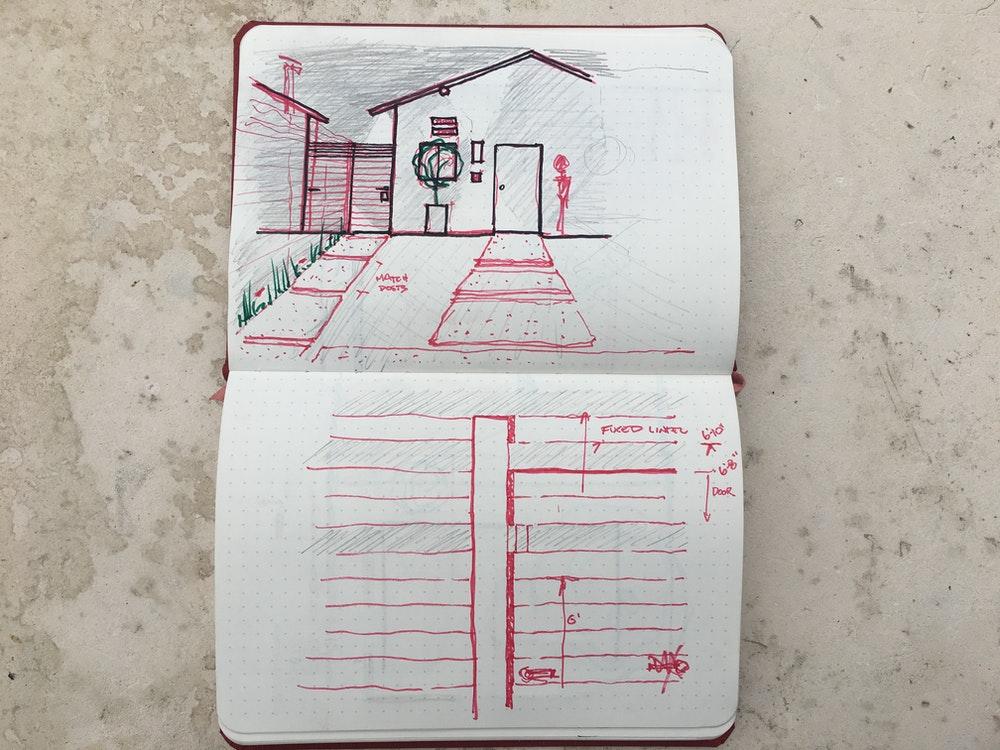 Harrison home notebook photo sketch