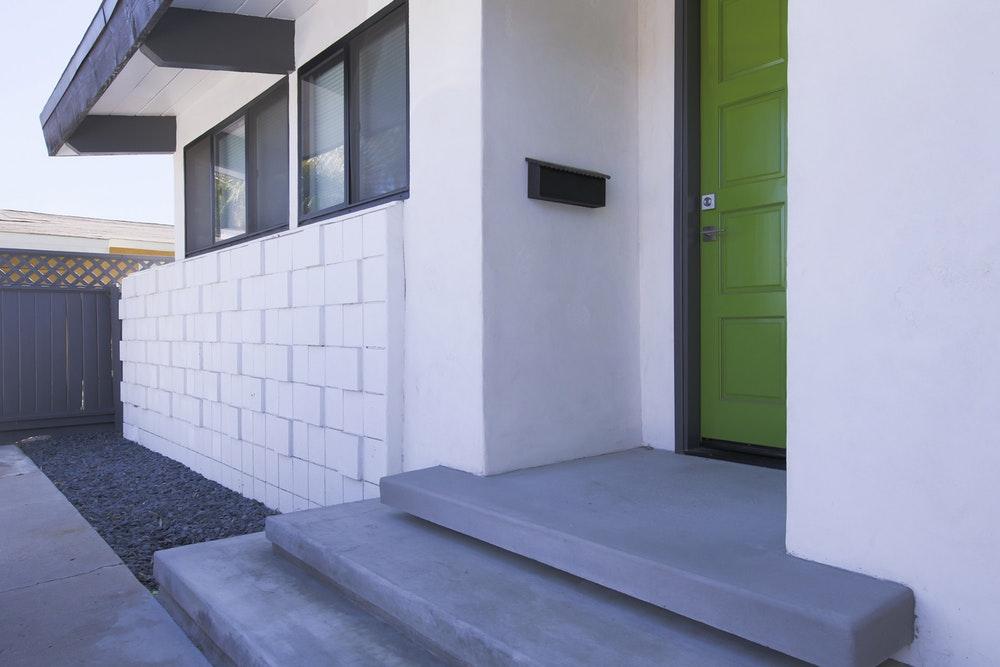View of Kenosha steps and front door
