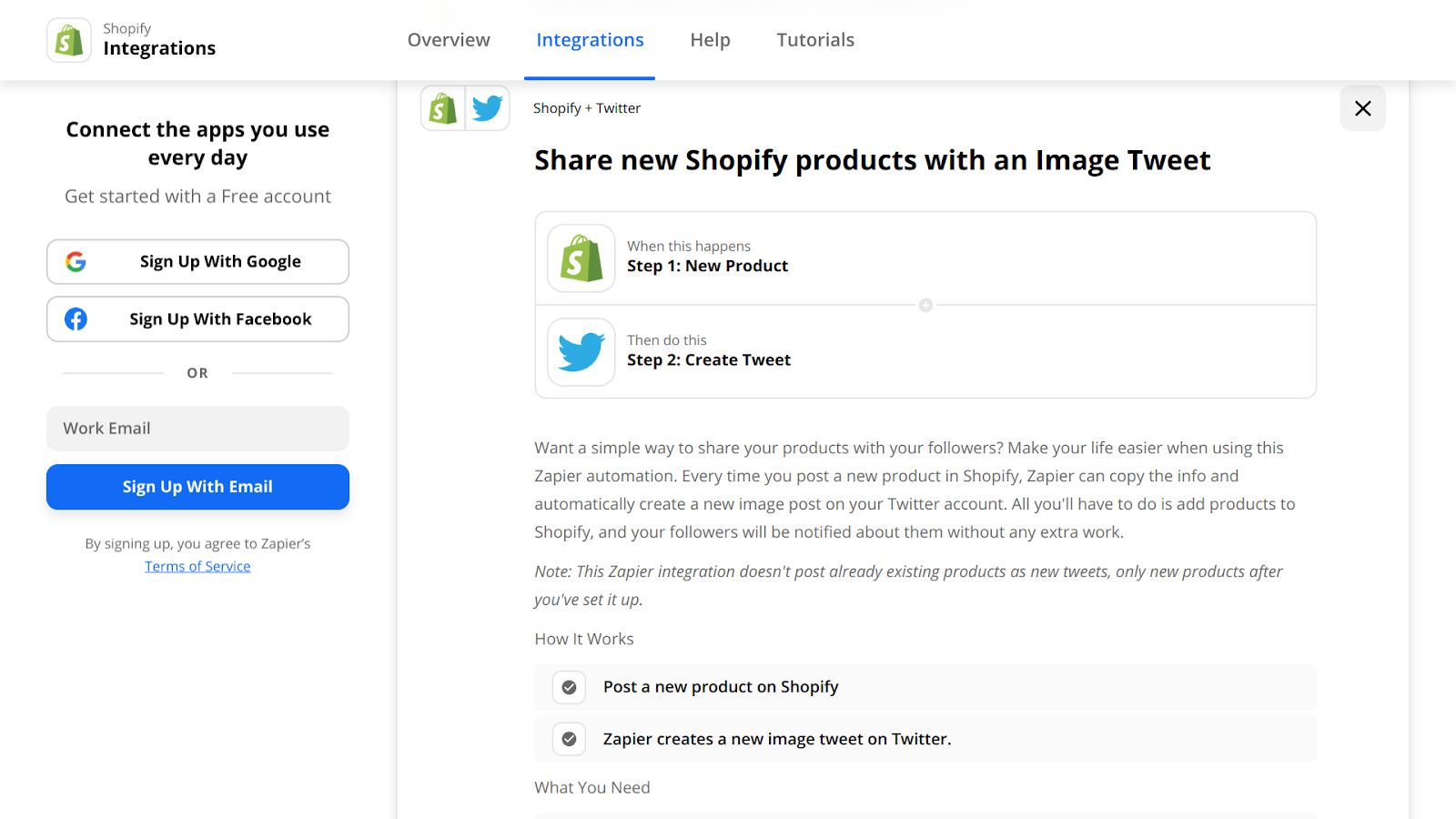 Create a Shopify + Twitter automation on Zapier.