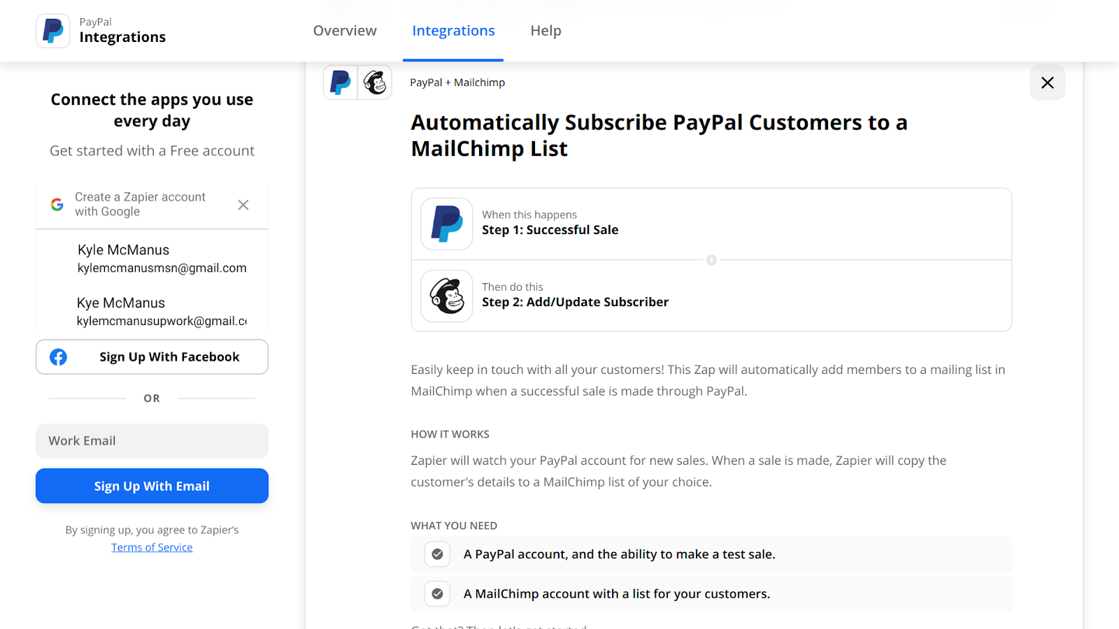 Create a PayPal + Mailchimp automation on Zapier.