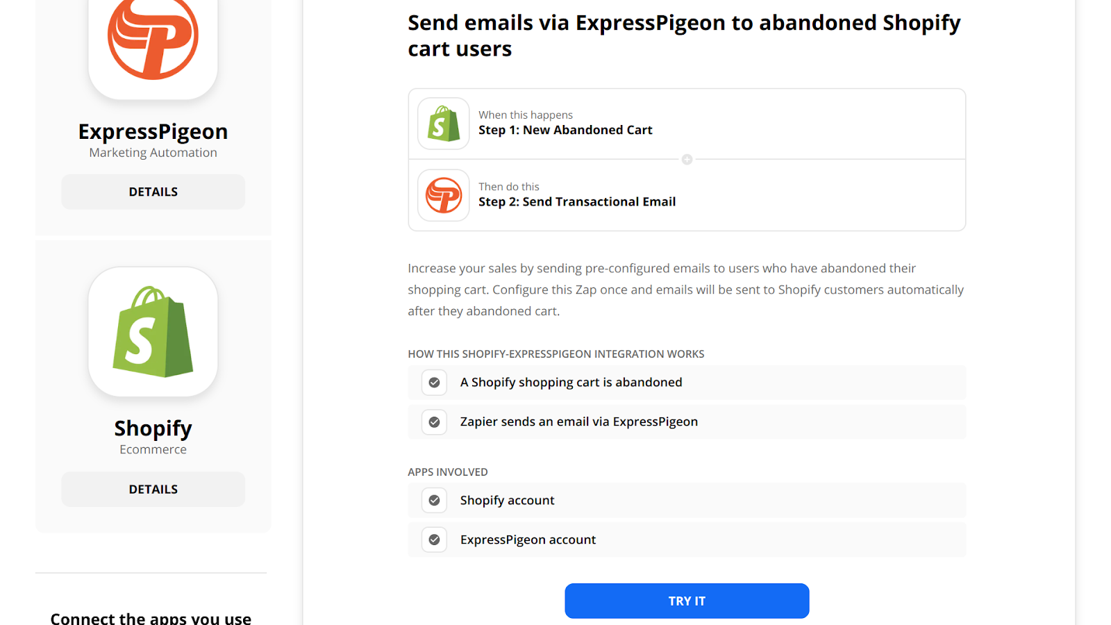 Create a Shopify + ExpressPigeon automation on Zapier.