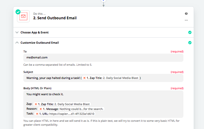 Use Zapier to send an outbound email.