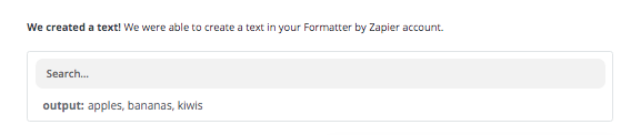 The output of a Zapier Formatter Replace step.