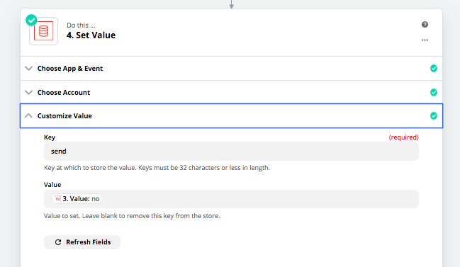 You can store values in Zapier using their Storage step.