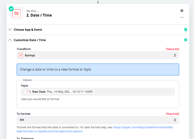 Use Zapier to format a date