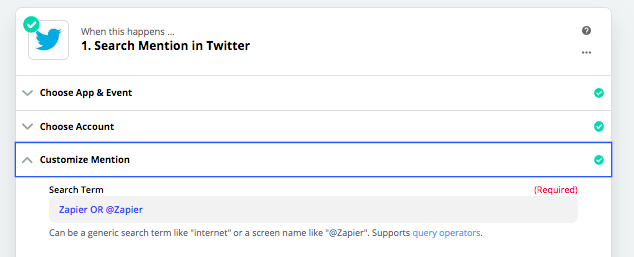 Use Zapier to monitor search terms on Twitter
