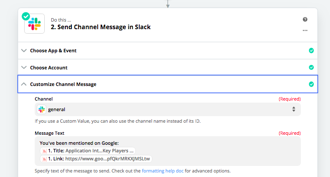 Send a message in Slack with Zapier