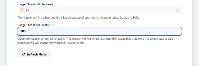 Get an alert from Zapier when you've used up a percentage of your plan quota.