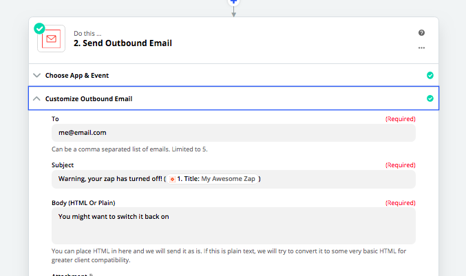 Send an email with Zapier