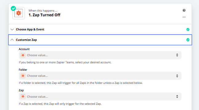 Create a Zapier automation that triggers when a zap is switched off.