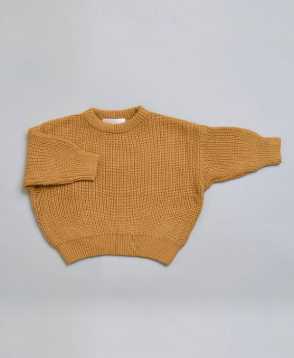 Baby clothes - Baby boys or baby girl knitted babies jumper in toffee colour