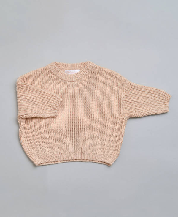 Baby clothes - Baby boys or baby girl oversized knitted babies jumper in cream colour