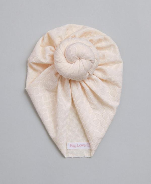 Cream knot baby turban for newborn baby girl