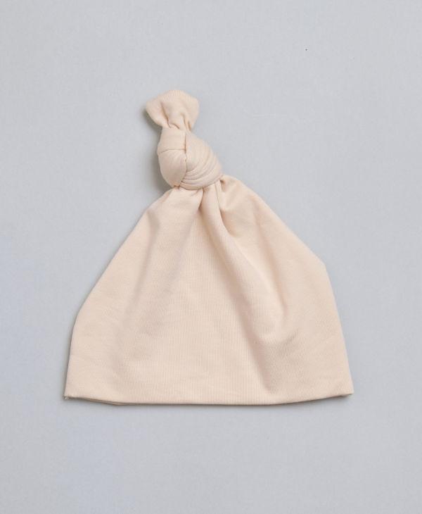 Cream knot beanie hat for baby boy