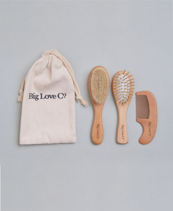 Natural wooden hairbrush and comb grooming set with soft goat bristles for newborn babies