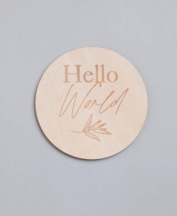 Wooden hello world baby sign for newborn baby announcement