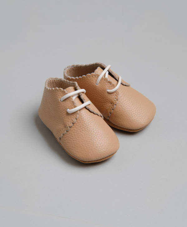 newborn High quality unisex beige leather baby shoes