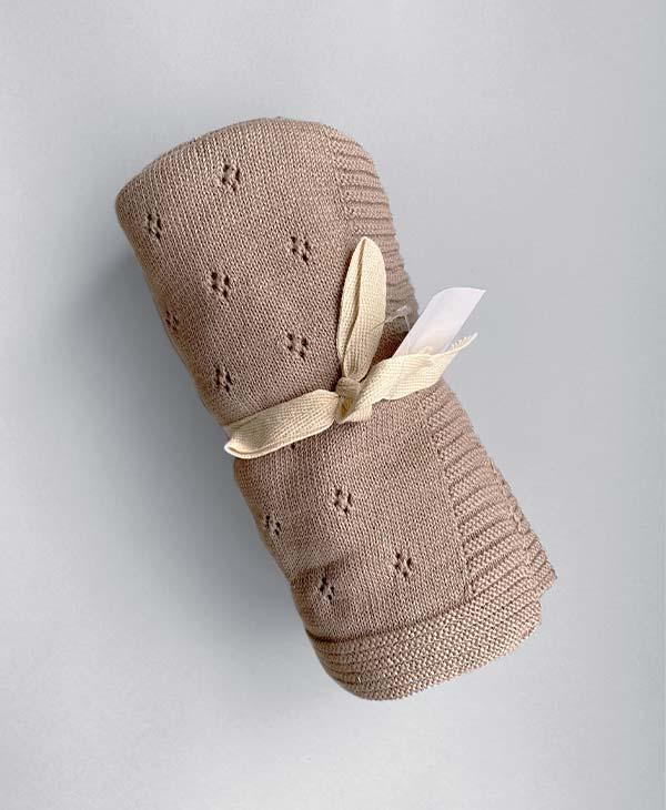 Brown Knit Heirloom Baby Blanket