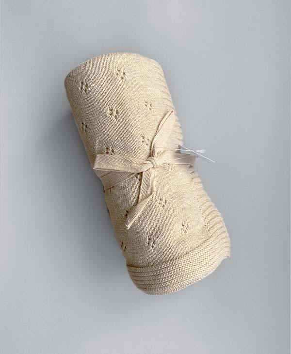 Unisex Heirloom Baby Blanket Stone