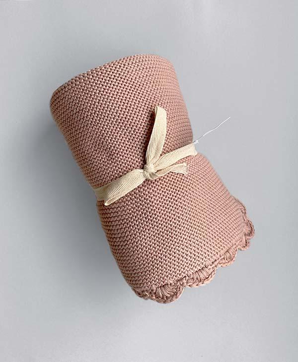Crochet Baby Blanket Blush Pink
