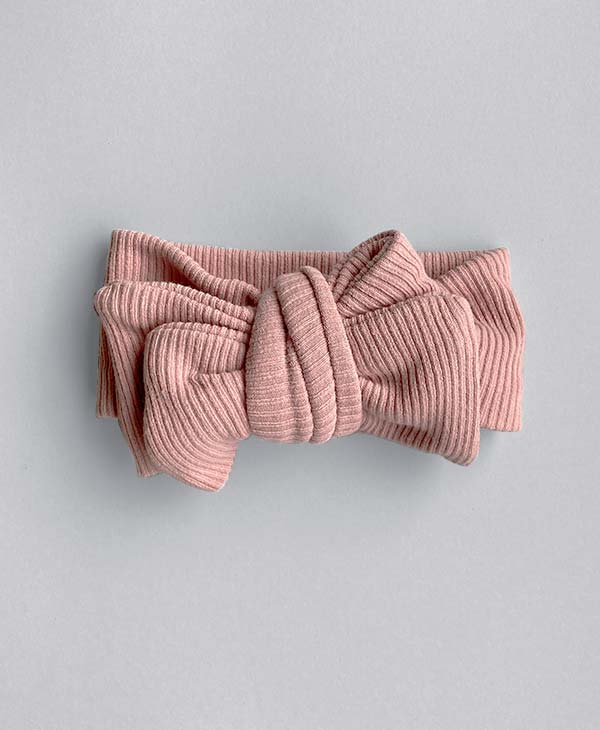 Ribbed Knit Oversized Topknot in Vintage Pink