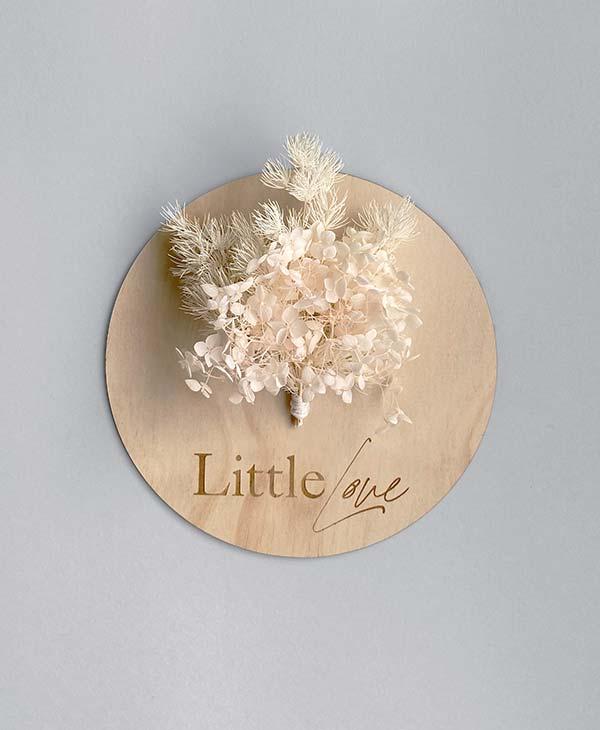 Baby Announcement Wooden Plaque with Floral Arrangement