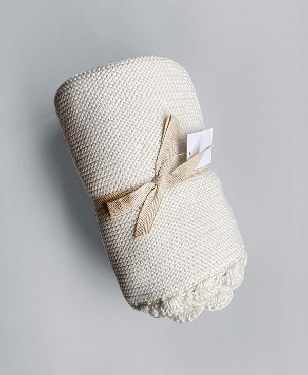 Crochet Baby Blanket Whisper White