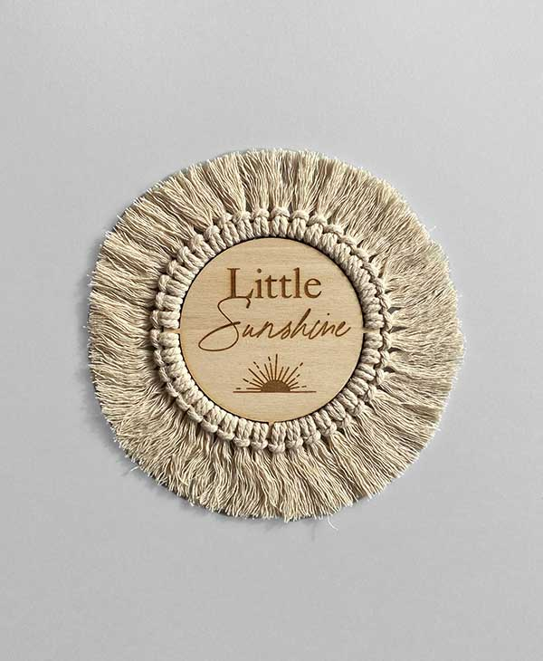 Baby Decor - Wooden Plaque with Macrame Fringing