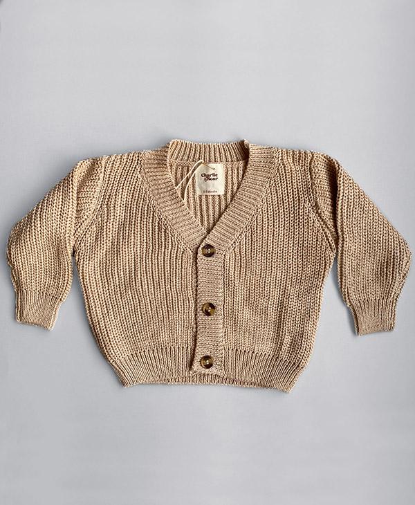 Charlie and Bear Caramel Cotton Chunky Knit Cardigan