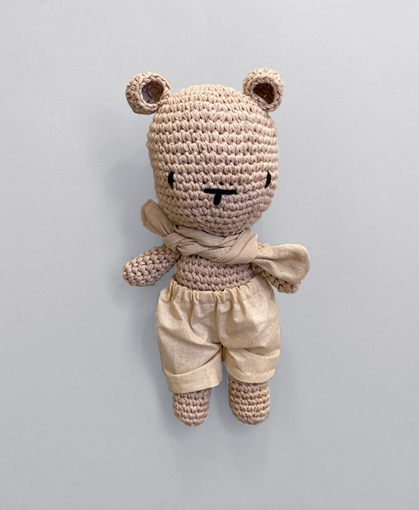 25cm Grace Knots Handmade Crochet Bear with Clothing