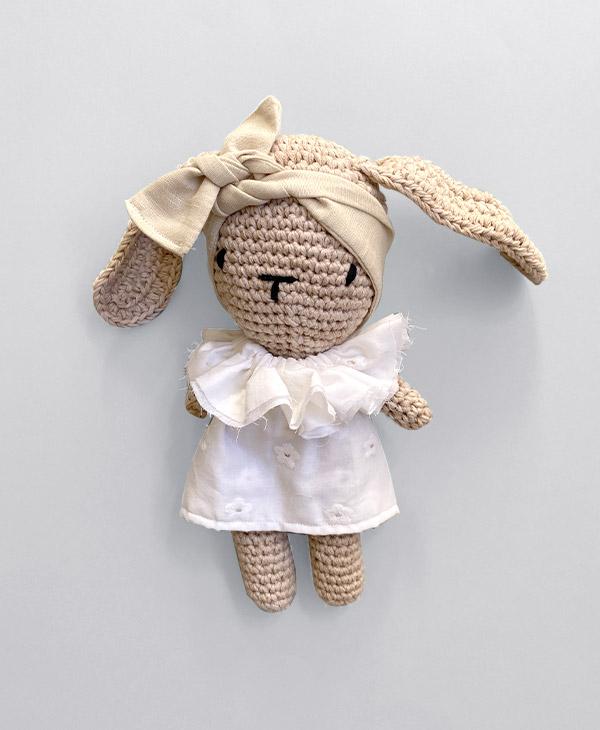25cm Grace Knots Handmade Crochet Bunny with clothing