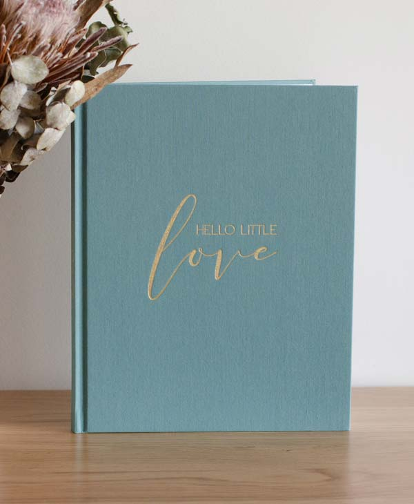 Teal Linen Baby Journal with Gold Foil by Blossom and Pear