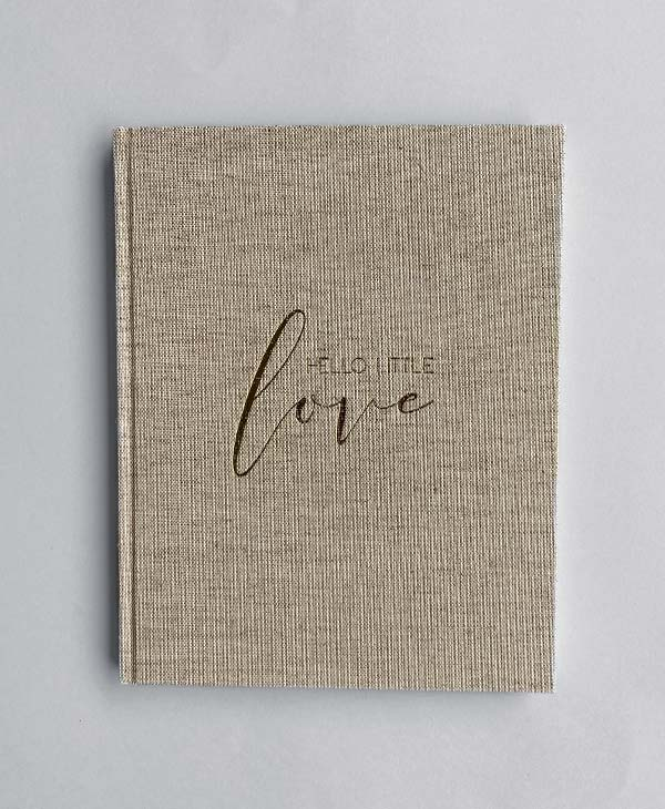 Gender Neutral Linen Baby Memory Book with Gold Foil
