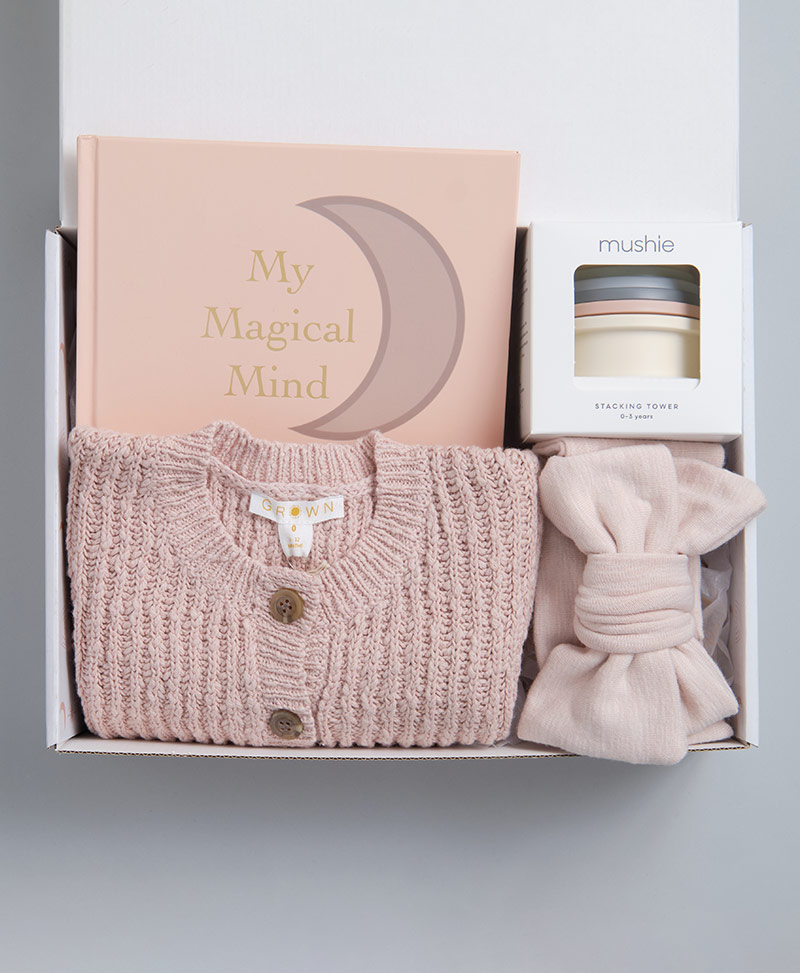 Sweet Baby Girl Gift Box. Includes Knitted Jumper, Topknot Bow, Baby Book and Mushie Stacking Cups.