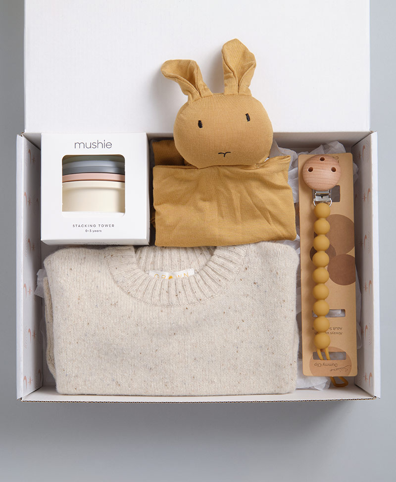 Baby Boy Gift Hamper. Includes stacking cups, knit jumper, dummy chain and comforter.