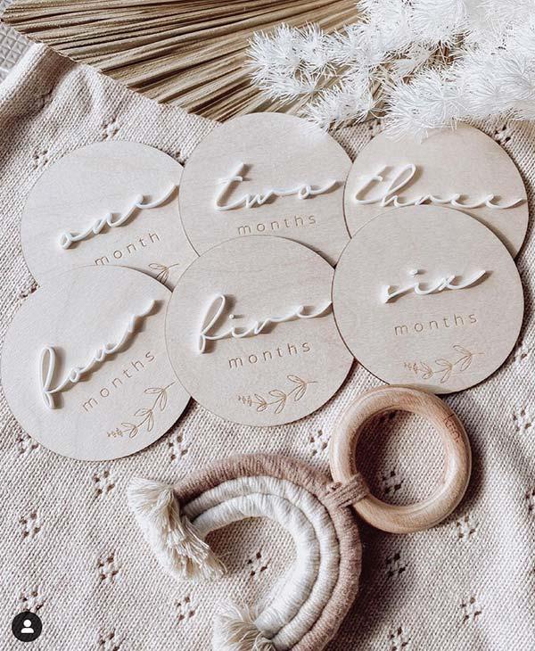 Wood and White Acrylic Baby Milestone Cards