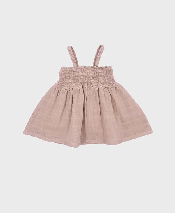 Pink Baby Girl Smock Top made of 100% certified GOTS organic muslin