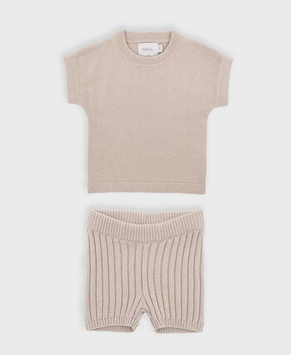 Sandy / Beige baby knitted tee and short set. Petit and Co.