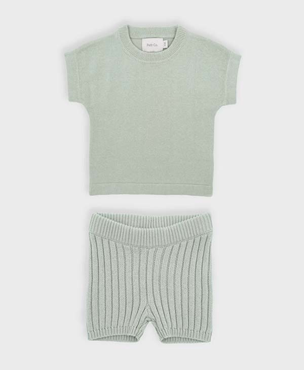 Peppermint baby knitted tee and short set. Petit and Co.