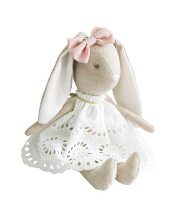 Alimrose Baby Broderie Bunny Soft Plush Toy