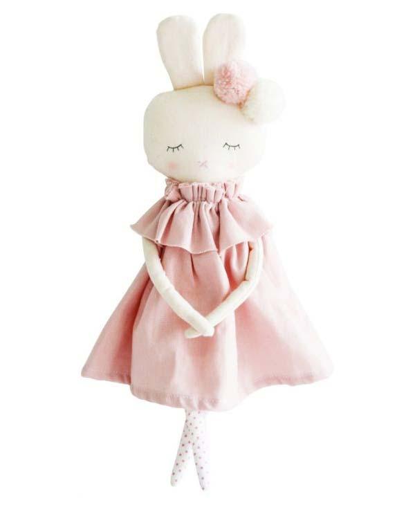 Baby Girl Plush Toy Bunny in Pink Dress. Alimrose.