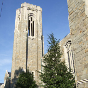 Simple stone tower with elegant vertical lines in the gothic revival style