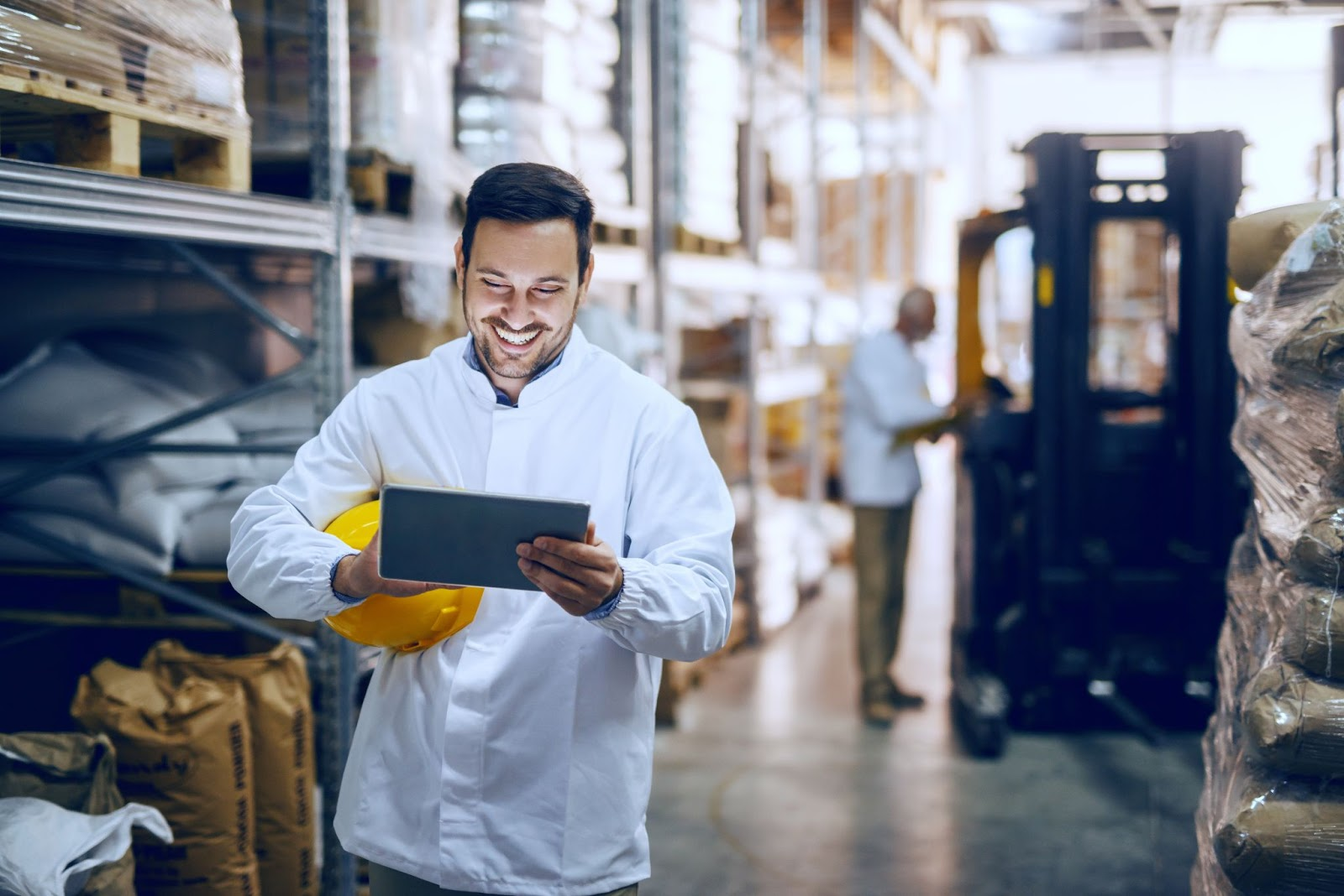 Collaborative commerce: Man in a warehouse