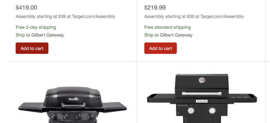 add to cart button: Screenshot of a product page