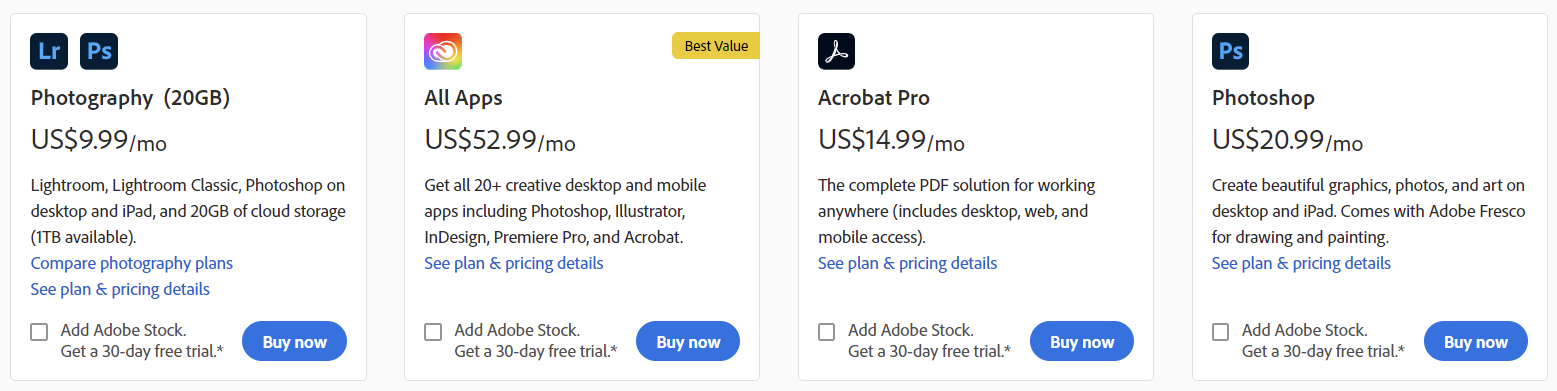 Screenshot of a page showing several apps that can be purchased