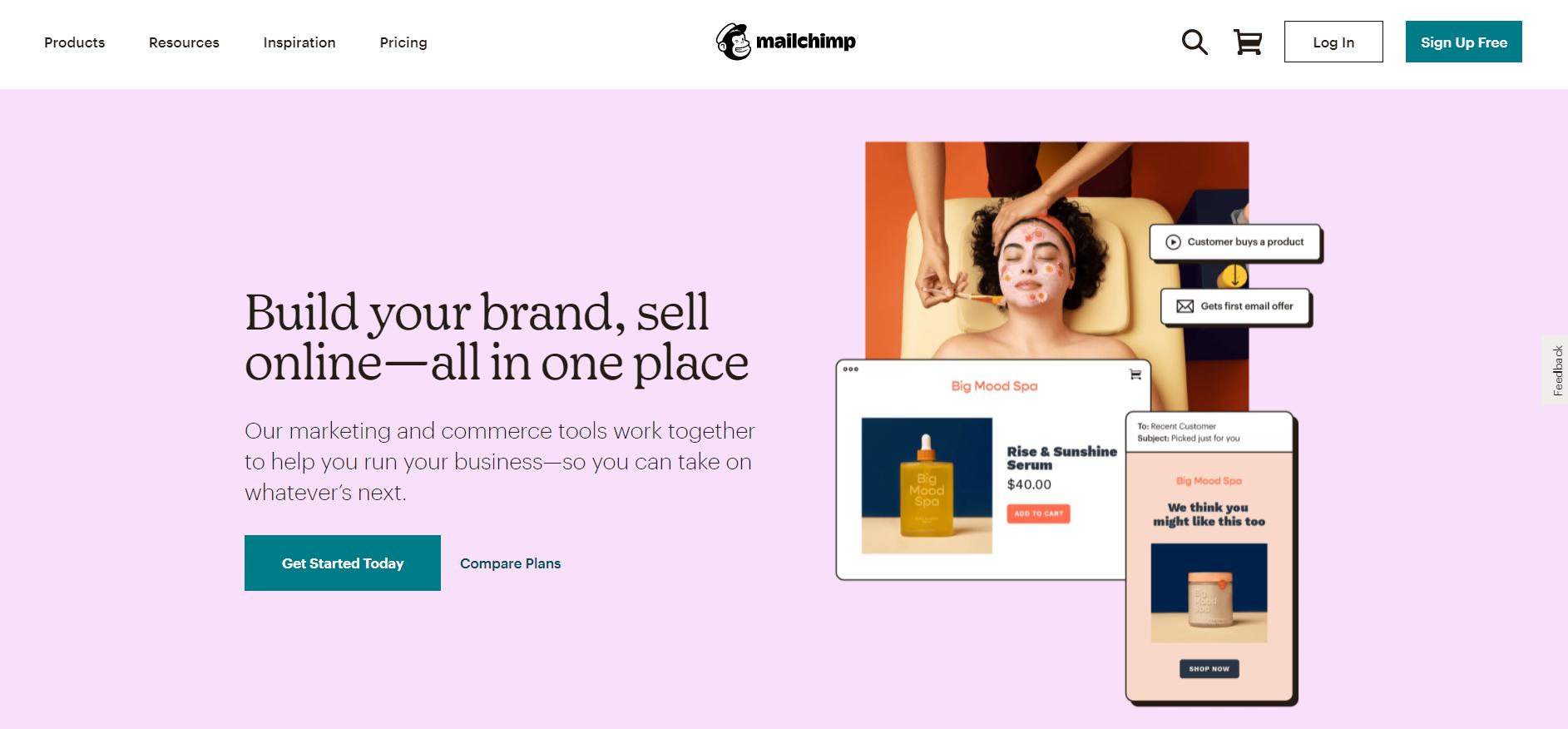 Volusion apps: Mailchimp website