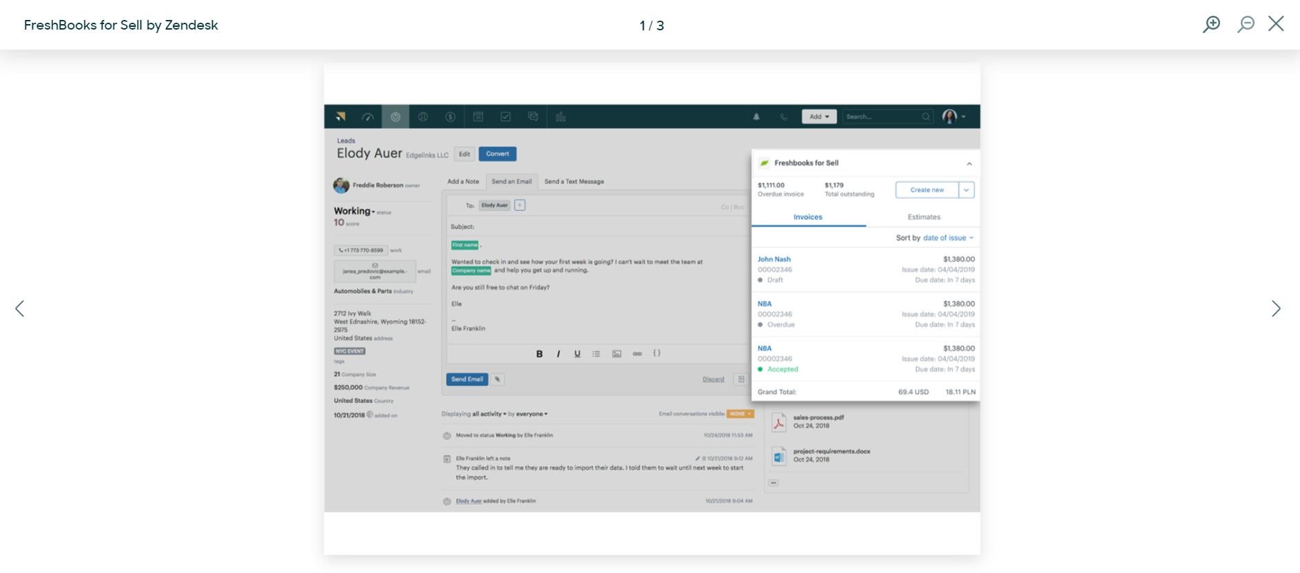 Zendesk integrations: FreshBooks for Sell