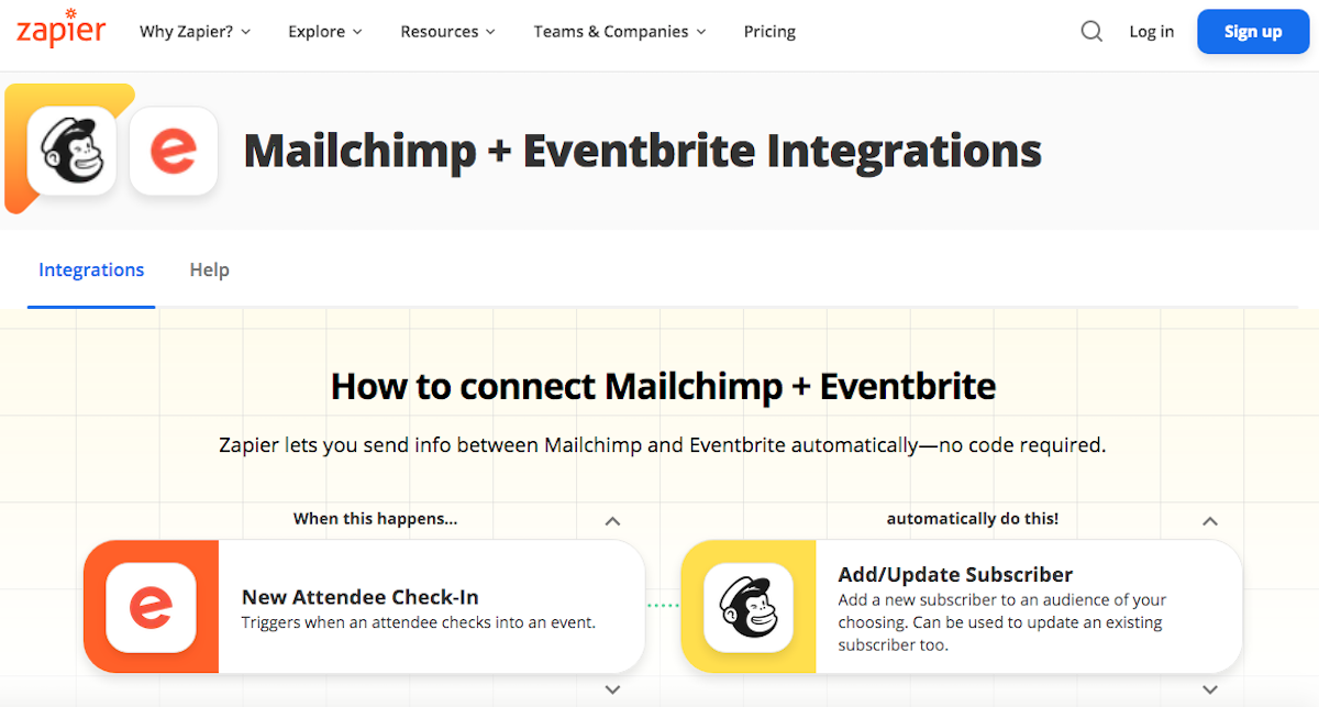 Mailchimp integrations through Zapier