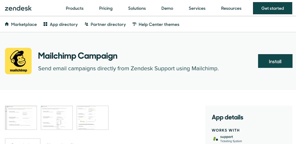 Mailchimp integrations: Zendesk